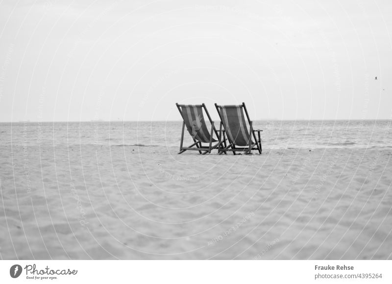 A place for two - two empty deck chairs on the beach overlooking the sea Beach Deckchair deckchairs sea view Vacation & Travel Ocean Summer Relaxation Tourism