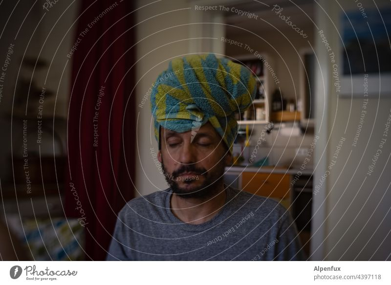 #1000 with calmness and composure tranquillity Serene Be quiet! silent Calm Man masculine To be silent peaceful... masculinity Turban Relaxation Colour photo