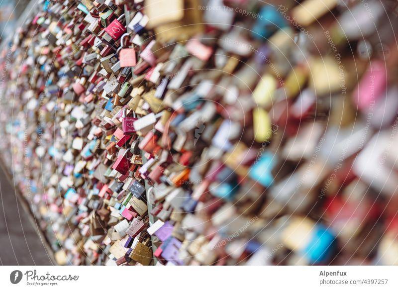 So much love Love padlock Exterior shot Lock Colour photo Padlock Infatuation Bridge Together Loyalty Romance Deserted Display of affection Metal Emotions
