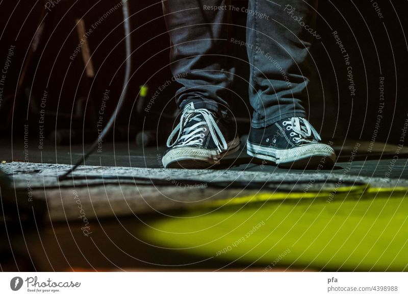 Stage shoes. Chucks on guitar cable stage stage lighting Music Musician Concert String
