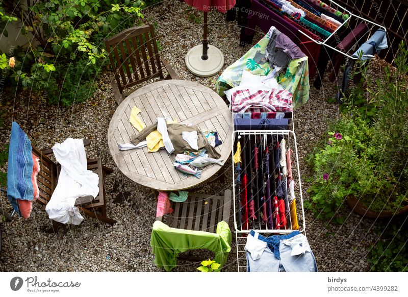 big wash from the bird's eye view, wash day. Laundry Wash Dry Family children Cotheshorse housework fresh laundry garments Washing day Clothing