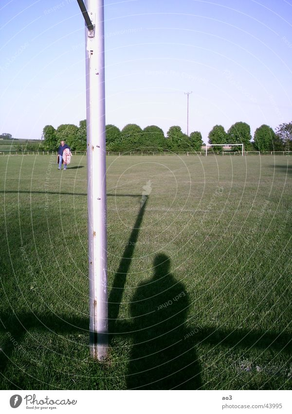 The spirit of football Playing field Meadow Tree Sunset Football pitch Green Shadow Gate Lawn Landscape Pole Ghosts & Spectres  Grass surface Exterior shot