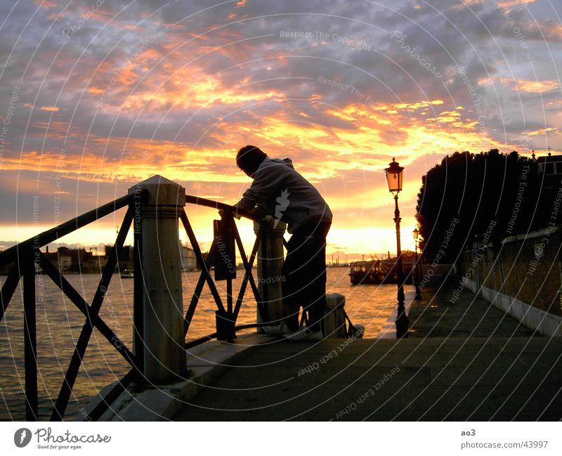evening light Sunset Night Think Clouds Dream Venice Light Red White Yellow Green Evening Loneliness Lamp Ocean Beach Lake Wood Black Art Tasty Bridge Arne Sky