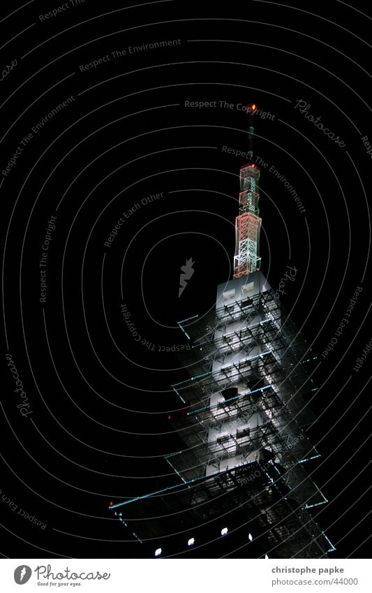 Black Dark Architecture Lighting Tall Future Tower Television Media Radio (broadcasting) Antenna Television tower Hannover Advancement Transmit Broacaster
