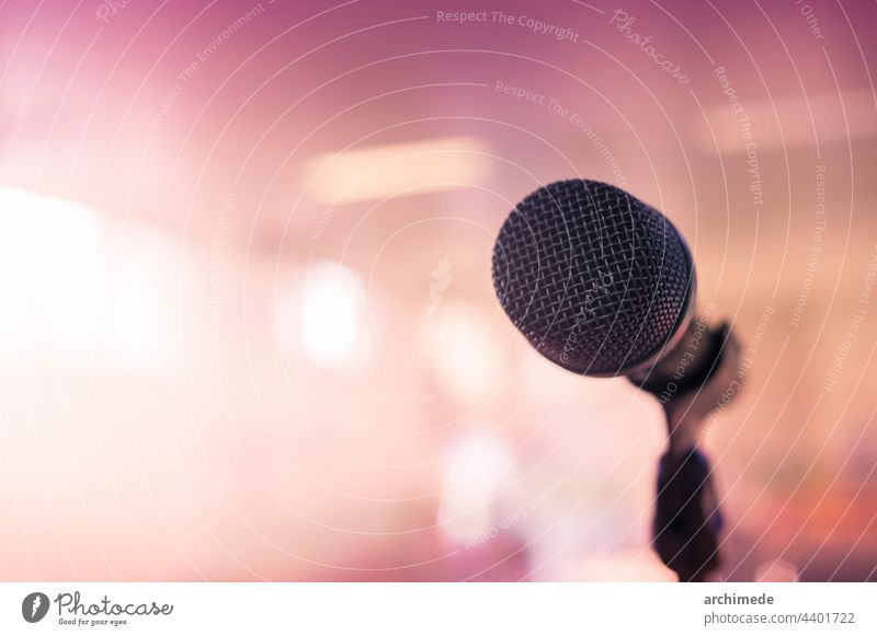 Microphone on stage microphone speech event live music meeting audio concert object theater sound light technology equipment electronic conference voice