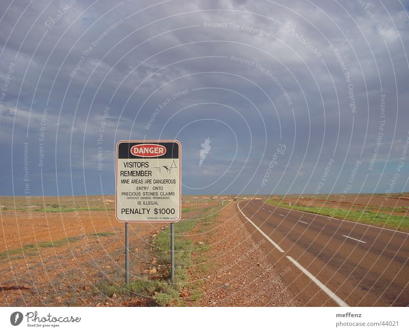 Signs and labeling Industry Dangerous Threat Signage Australia Warning label Dismantling Symbols and metaphors Dig Digging Opal Coober Pedy
