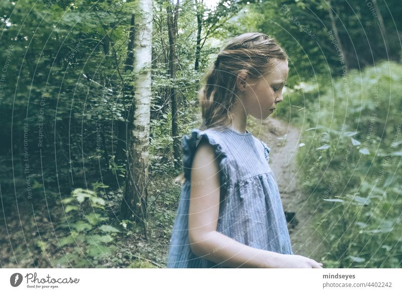 Girl in the forest childhood Childhood memory Leisure and hobbies Happiness Infancy Birch wood Birch tree Scandinavia Caucasian Cute Nature nature lovers