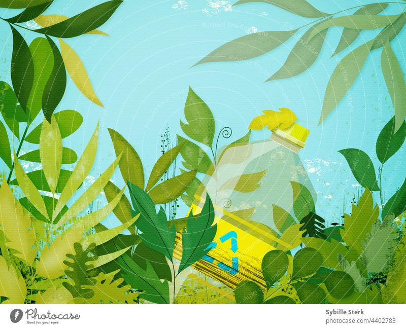 Plastic bottle surrounded by vegetation plastic bottle recycling trash rubbish thrown away non-recycled climate crisis leaves nature nature reclaiming outdoors