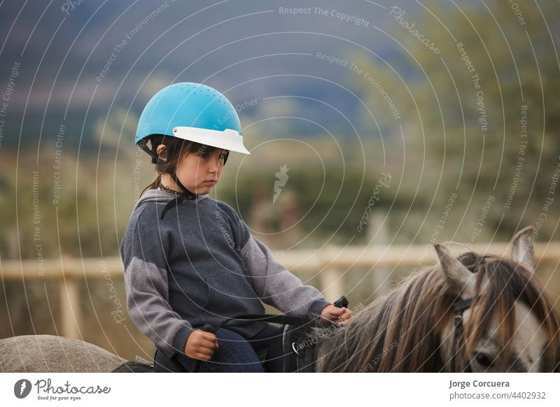5-year-old girl riding on a horse, in a hipico club. infalltil sport concept young nature child animal cheerful saddle stallion dressage female pasture