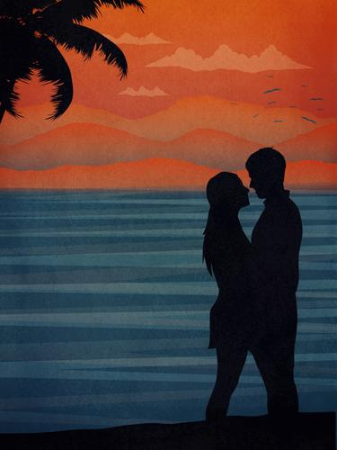 couple kissing at the beach love romance palm tropical sunset happiness holiday honeymoon
