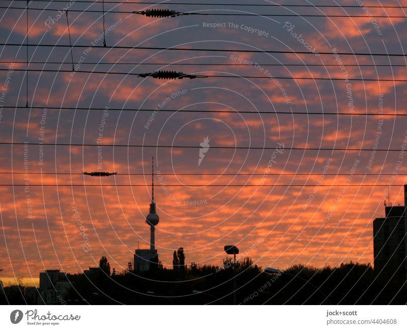 Evening light over the big city Berlin TV Tower Landmark Capital city Sky Clouds evening mood Overhead line Silhouette Prenzlauer Berg City Panorama (View)