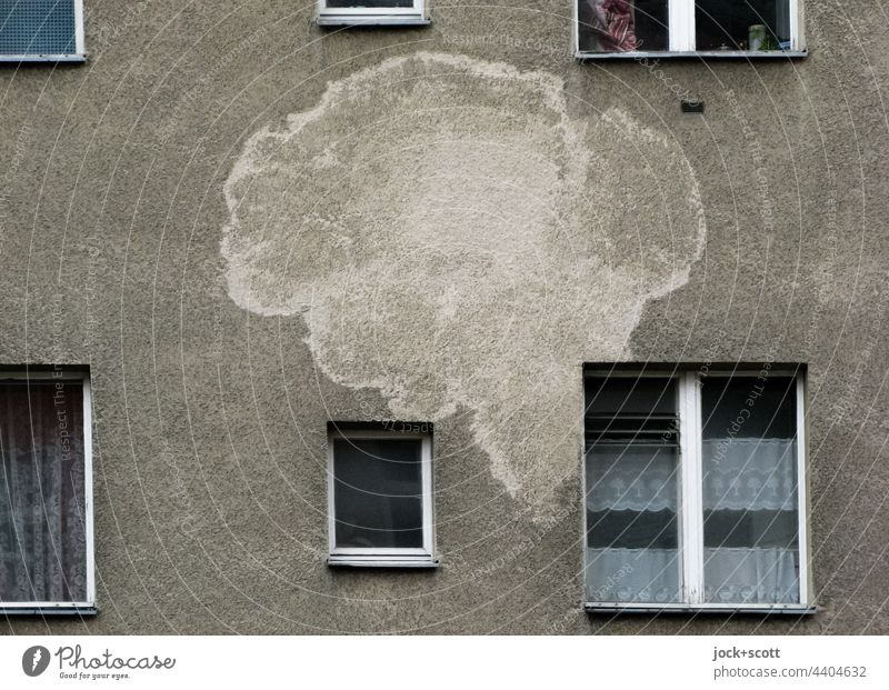 big blotch like a speech bubble on the front of a house Facade Window Inspiration Past Curtain Ravages of time Rendered facade Water damage Speech bubble Patch