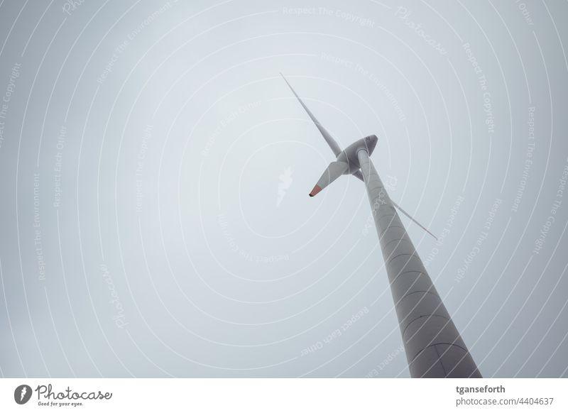 Windmill from below Pinwheel wind power wind turbine Renewable energy energy revolution Energy Wind energy plant Environmental protection Energy industry