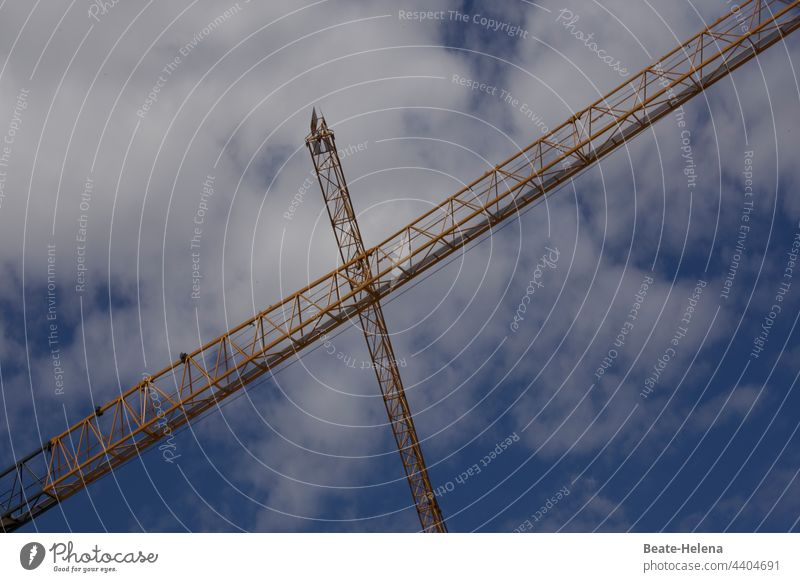 Above the clouds ... high into the sky Crane Clouds Tall Sky Crucifix Lifting crane Construction site work Work and employment Exterior shot Industry Workplace