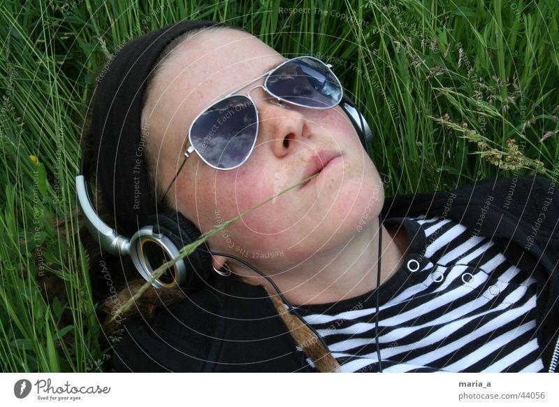 Woman Sky Summer Relaxation Meadow Grass Music T-shirt Blade of grass Headphones Sunglasses Striped