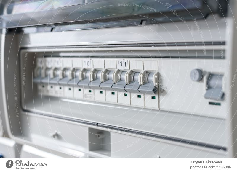 Circuit breakers on distribution board industrial electricity power energy circuit breaker electrical circuit voltage construction infrastructure technology