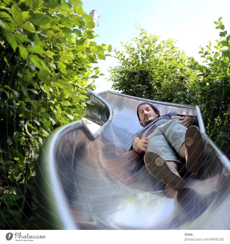 ParkTourHH21 | Rutschfux Slide Playground Man silver Supine position mirror shine green stuff bush Skid tilted position Infancy Metal concentrated Concentrate