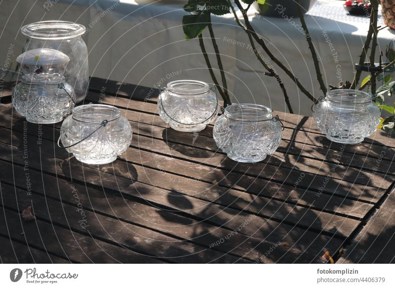 Candlelight glasses on a garden table candles Glasses Table decoration Glass candle holder Tea warmer candle Garden festival Tealight holder Tea lights