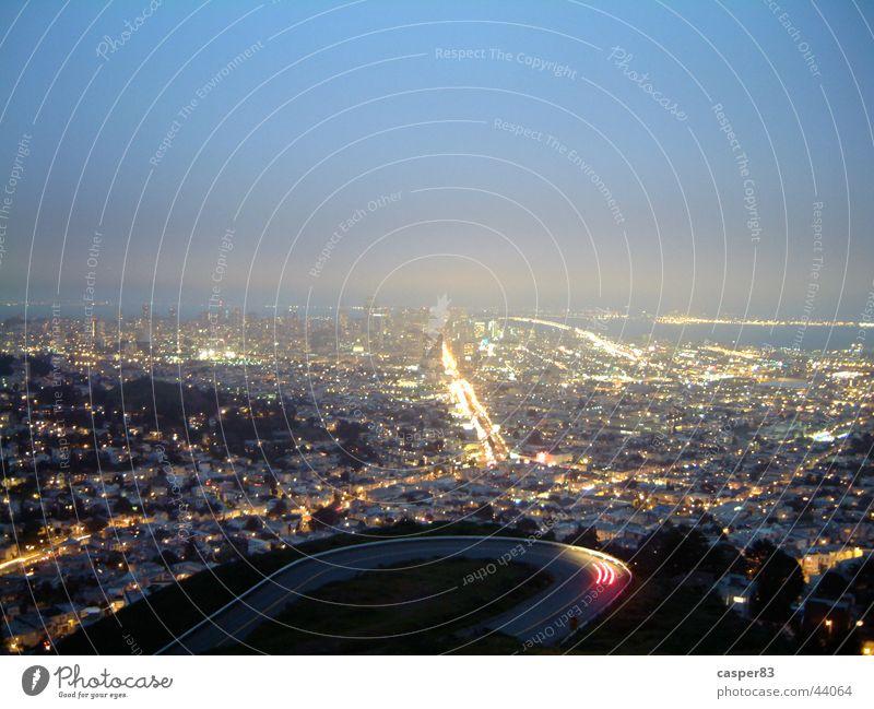 Veins of San Francisco Night Town Long exposure Horizon New York City Light Skyline