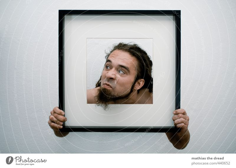 is there someone Human being Masculine Young man Youth (Young adults) Head Hair and hairstyles 1 18 - 30 years Adults Hang Picture frame To hold on Looking