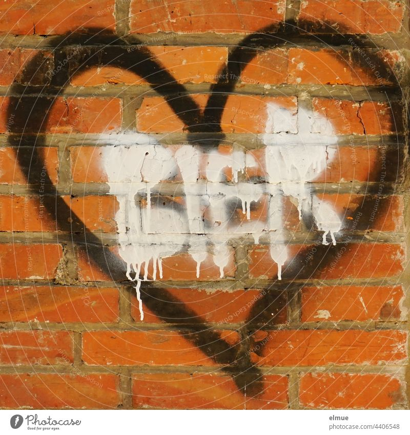 Graffito - black heart and white writing BIER on a red brick wall / thirst / alcohol addiction Beer Heart Graffiti Red spray Street art Facade Youth culture