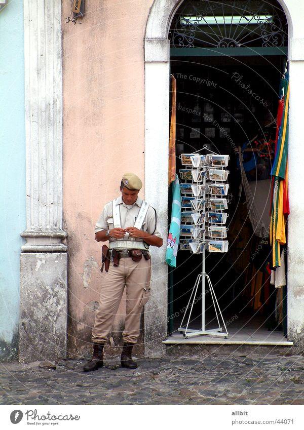 seguridad del público Army Man Americas Brazil South America Salvador de Bahia Soldier Tourist Town Police Officer Street Store premises Card