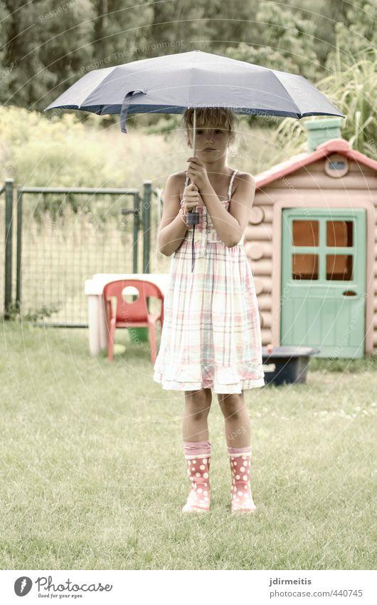 Human being Child Beautiful Summer Girl Feminine Grass Playing Garden Rain Blonde Infancy Stand Cute Dress Umbrella
