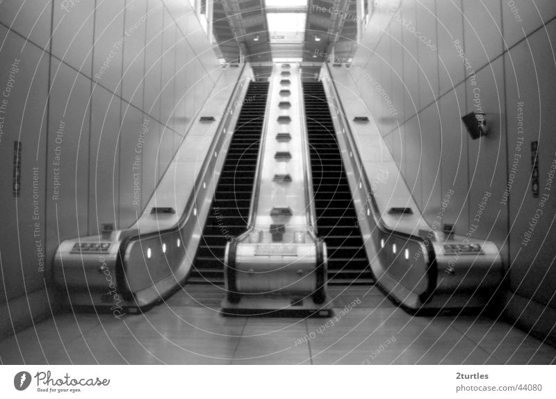 Stairway to heaven Escalator Subsoil London Canning Town England Transport Tall Downward Upward Stairs Train station