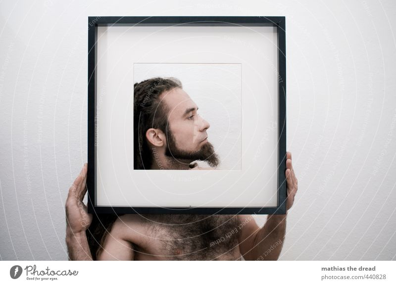 side profile Human being Masculine Young man Youth (Young adults) Body Head 1 To hold on Self-confident Power Dreadlocks Facial hair Hairy chest Pride Male nude