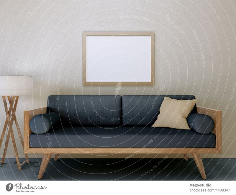 3D Illustration. Mockup of a blank poster frame hanging on the wall. 3d mockup decoration living room modern interior design concept empty decorative graphic