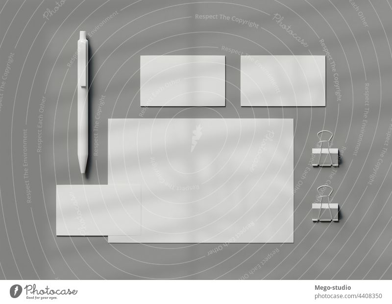 3d stationery branding. Corporate Identity Business Stationary corporate Mock-up White Document Branding Blank template background Set Stationery Paper