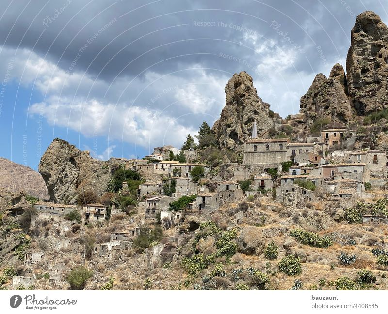 ghost village. Ghost Village Ruin Ruins Ruined city Old building Rock Italy vacation Tourist Attraction worth seeing Vacation & Travel Colour photo Tourism