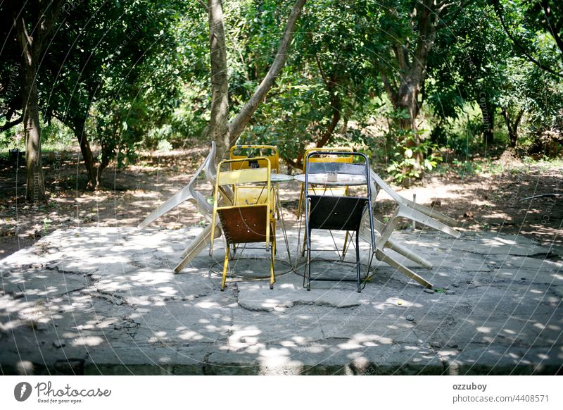 empty chairs and tables on park wood garden outdoor wooden furniture bench nature nobody background summer outside rest seat color green tree lawn scene white