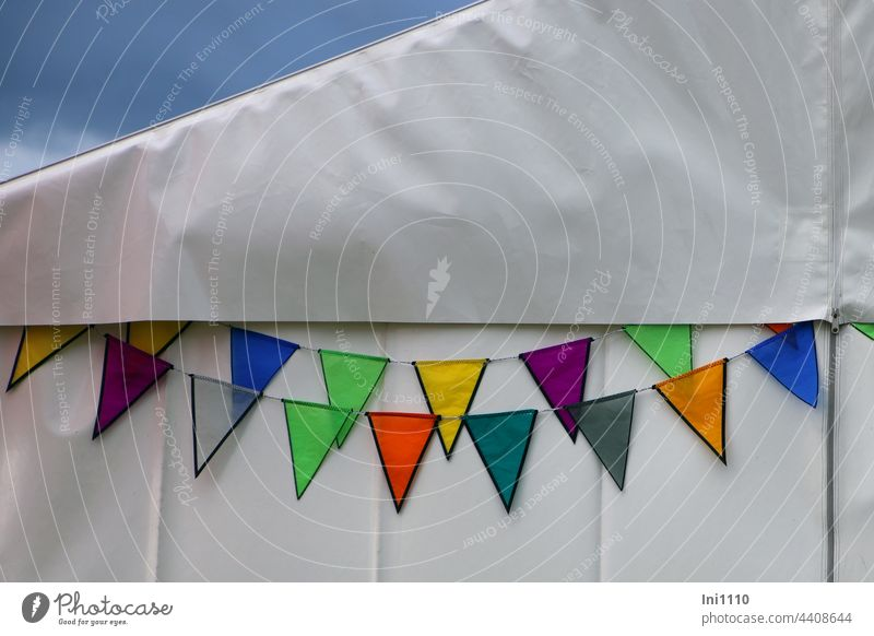 colourful pennant chains on white tent wall Decoration Eye-catcher Flag chains Paper chain variegated Rope colored All-weather ornament Tent Zipper Firm