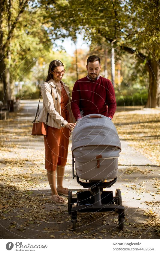 Happy young parents walking in the park and driving a baby in baby carriage adorable autumn child childhood dad family father happy leisure lifestyle man mom