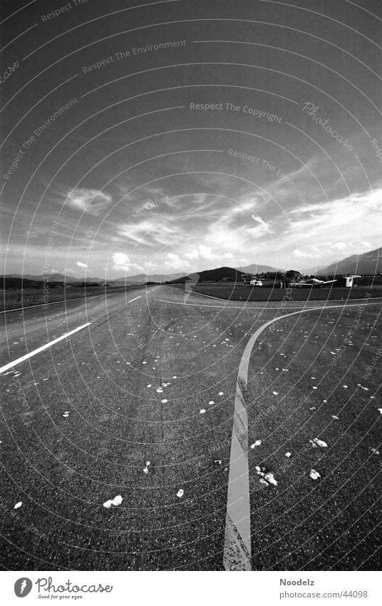desert port Airfield Plain Runway Nature Black & white photo mysterious