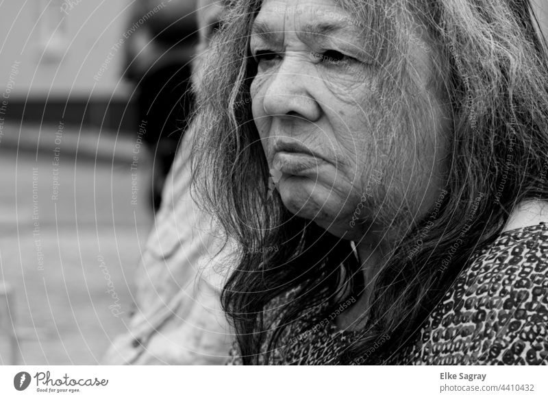 older woman with a blank look .... Woman Shallow depth of field empty gaze Exterior shot portrait Human being 70-80 Retirement older adult person