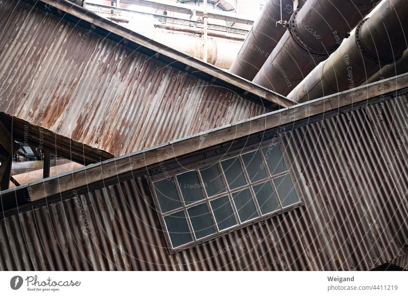 Inclined conveyor belts in industrial plant Industry obliquely Horizon Old Nostalgia Rust corroded Window