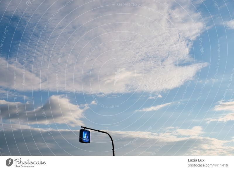 Sign 'Zebra crossing' in the sky Blue Blue sky Beautiful weather Clouds Sky Exterior shot Colour photo Sunlight Summer Day Weather Worm's-eye view Environment