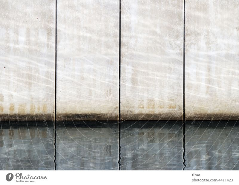Lifelines #148 Wall (barrier) Wall (building) Calm Beautiful weather Sunlight reflection harbour basins Concrete Silhouette Water Parallel Surface water edge