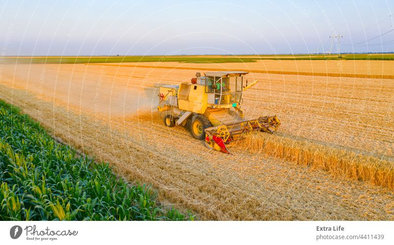 Above view on obsolete combine, harvester machine, harvest ripe cereal Aged Agricultural Agriculture Ancient Antique Cereal Combine Country Countryside Crop Cut