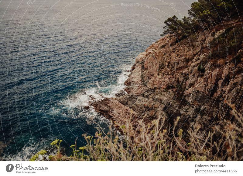 Views of a cove on the Costa Brava from a high point background bay beach beautiful blue california canyon chalk coast coastal coastline energy environment