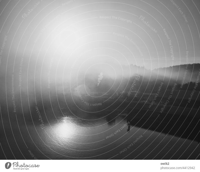 obscured Fog Panorama (View) Light Glittering bank Mysterious Mystic Nature Water Morning Autumn Deserted shine Water reflection windless silent Hazy Haze