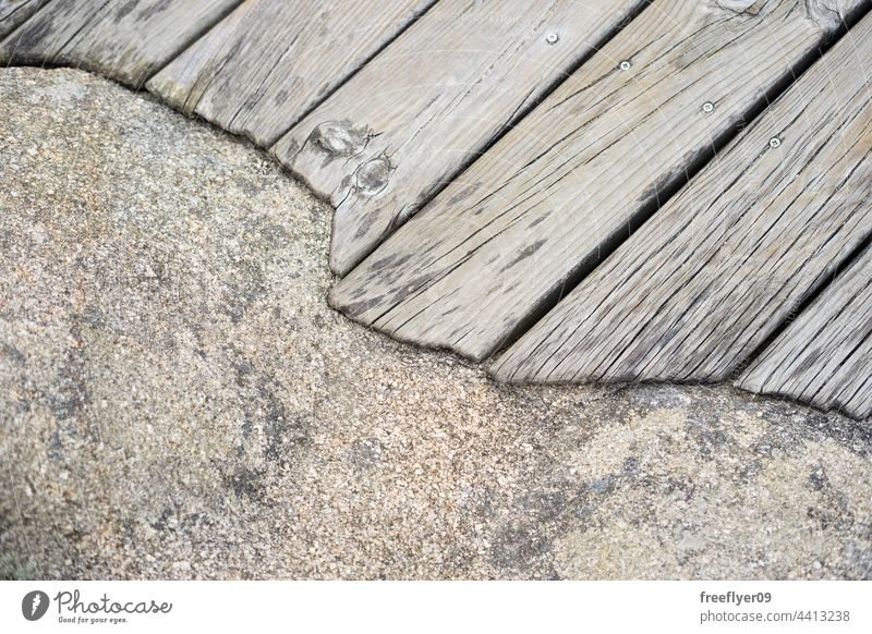 Wood platform surrounding the edge of a rock wood texture architecture detail volume copy space materials granite brown tree grunge surface backdrop cracked