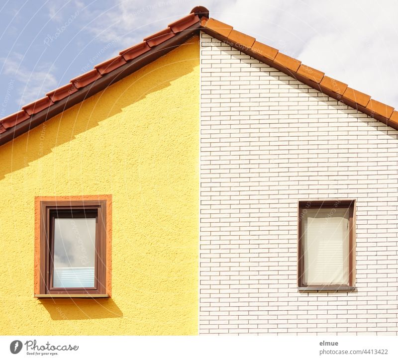 Order in chaos I gable of a semi-detached house with one window each and differently designed facades / living / neighbours house gables pediment