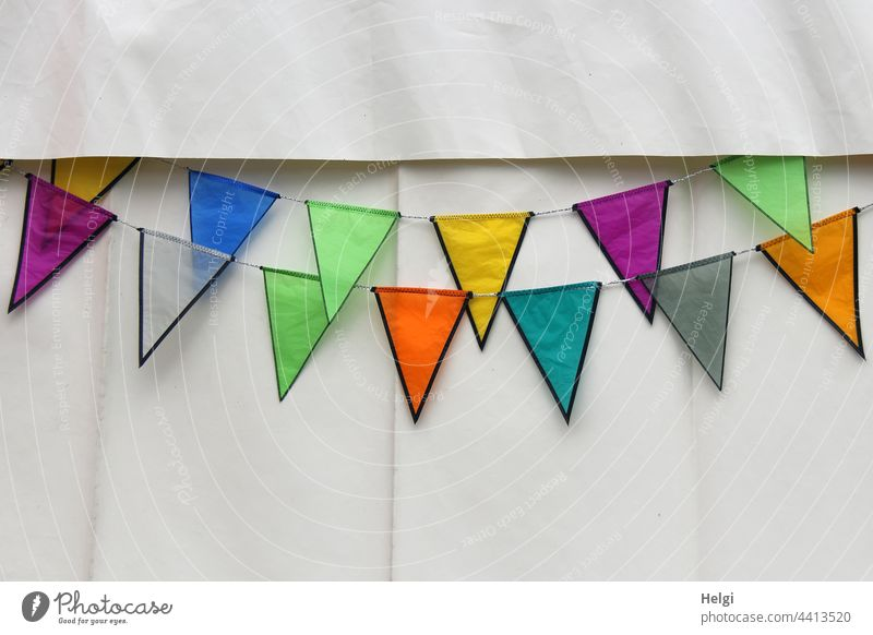 colourfully decorated - colourful flags hanging on a white tent wall Decoration decoration Adorned variegated Tent Plastic jagged Feasts & Celebrations