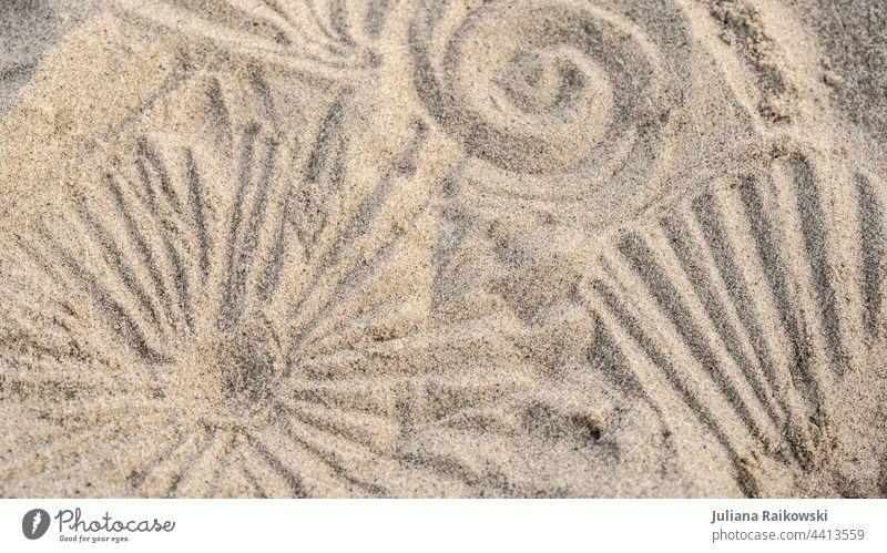 Patterns in the sand Sand Beach Ocean Sun Summer coast background Vacation & Travel Colour photo Deserted whorls Sandy beach texture vacation Summer vacation