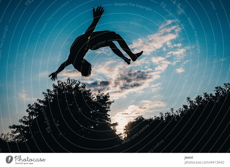 Enthusiasm and body control Movement Salto Air Flying Hover Sky Jump Blue Joy Freedom Sports Dynamics Athletic Action Funsport Youth (Young adults) Body control