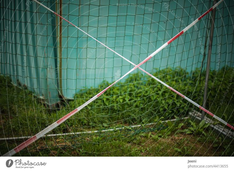 Locked football goal - ban on play Foot ball Football pitch Soccer Goal Soccer training Sports Ball sports Sporting Complex Leisure and hobbies Green Playing