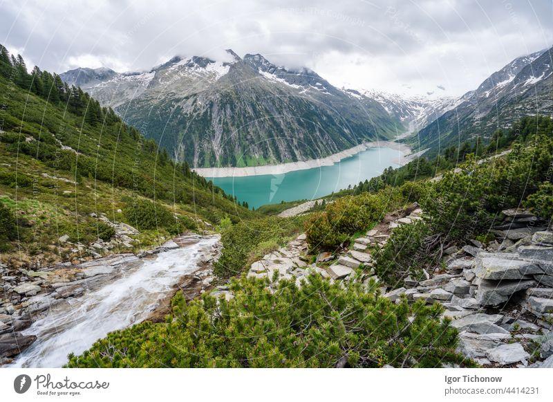 Schlegeis Stausee lake view. Zillertal, Austria, Europe zillertal schlegeis austria stausee beautiful hiking tyrol trekking travel nature mountain panorama
